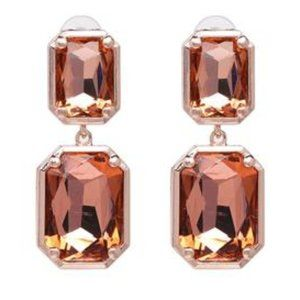 Peach Gold Dangle Drop Long Earrings 2.17""